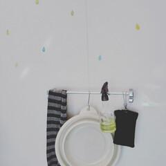 見せる収納/100きん/ステッカー/洗剤ボトル/S字フック/お風呂/... やっと購入!折りたたみバケツ!上履きや、…