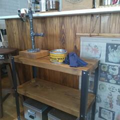 Lアングル/カフェ風インテリア/腕時計置き/DW/DIY女子/100きん/... DIYした棚にold wood waxを…