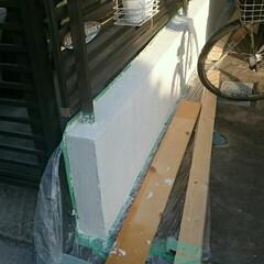 建売住宅/ブロック/塀/ジョリパット/DIY/建築 建て売りの塀にジョリパット❗