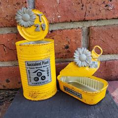 ラベル自作/多肉/多肉植物/モルタル造形/モルタル/リメ缶/... ひまわりリメ缶完成😊 ラベルを屋号風にし…