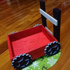 手押し車風/クリスマス/DIY/ハンドメイド/雑貨/100均/... こんなの。 作ってみたかった!!! って…