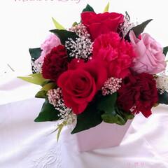 ギフト/花束/プリザーブドフラワー/母の日プレゼント/母の日 🌹お母さん、いつもありがとう😆💕✨🌹(1枚目)