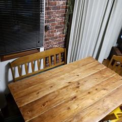 レンガ壁紙/ニトリインテリアペーパー/リビング/旦那DIY/手作り天板/アイアン脚テーブル