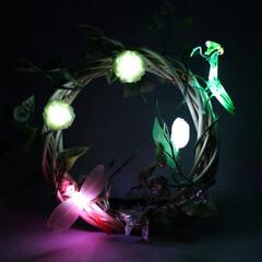 手作り雑貨/アイデア雑貨/インテリア雑貨/生活雑貨/リース/照明 手作りオーナメントが点灯するリースライト…