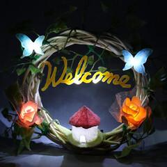 生活雑貨/アイデア雑貨/手作り雑貨/インテリア雑貨/リース/照明 造花を使用して作ったWELCOMEサイン…