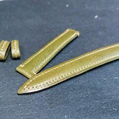 革/腕時計/ベルト/レザークラフト/イタリアンレザー 腕時計の革ベルト。  奥さんが、腕時計の…(3枚目)