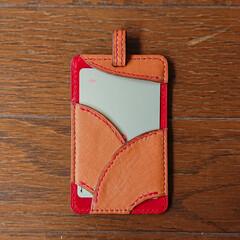 ハンドメイド/親孝行のつもり/お孫さん?/レザークラフト/手縫い/革細工/... 両親へ手作りカードケースをプレゼントして…(6枚目)