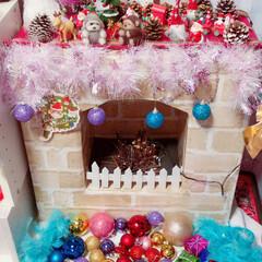 暖炉/フェイク/クリスマス/DIY/ハンドメイド/100均/... フェイク暖炉を作ってみたよ 100均で簡…