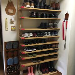 ディアウォール/下駄箱 ディアウォールで靴置き完成、たくさん収納…
