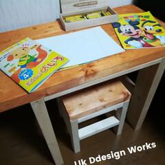 インテリア/DIY/家具/ハンドメイド/LIK Design Works/男前/... 3歳の子どもに机とイスを作りました。  …
