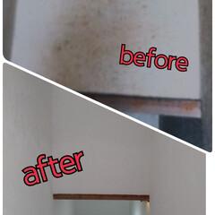 白/階段/漆喰/うまーくヌレール/フォロー大歓迎/LIMIAファンクラブ/... 繊維壁の階段  うまーくヌレールを塗りは…