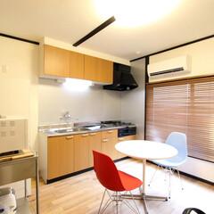 SOHO/Eames Shell Side .../無印良品/オーク無垢フローリング/ウッドブラインド SOHO使用可能なダイニングスペース