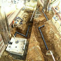 水道管/ガーデニング/枕木 行き当たりバッタリDIY♪  埋設配管工…