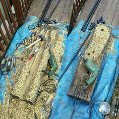水道管/ガーデニング/枕木 行き当たりバッタリDIY♪  枕木水洗柱…