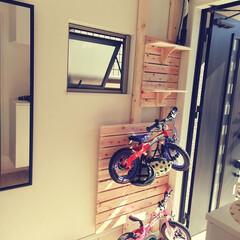 玄関/自転車収納/ツーバイフォー/すのこ/DIY 子供が自転車に乗り始め、収納場所に困って…