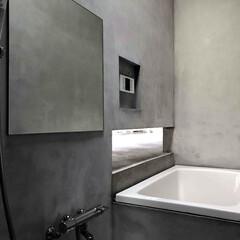 建築/建築家/住宅/浴室/モルタル/バスルーム 浴室出入口から浴室を見る