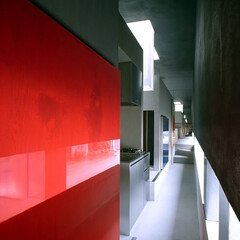 建築/建築家/住宅/廊下/キッチン/モルタル/... 狭い回廊;リビングダイニング側から見る