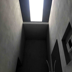 建築/建築家/住宅/浴室/天窓/トップライト/... 浴槽からトップライトを見上げる