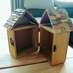 ターナー色彩/アンティークワックス/収納箱/開閉式/ドールハウス/アミーボ/... セリアの小箱に屋根を付けてドールハウス風…