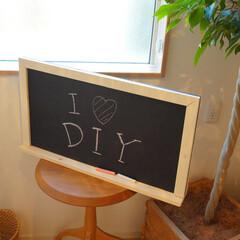 黒板/ダイソー/黒板塗料 以前娘のために作った黒板。100円ショッ…