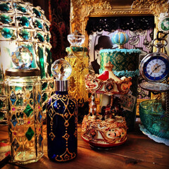 リメイク/ハンドメイド/空き瓶/モロッコ リメイクボトルと鮮やかな色々たち。 青い…