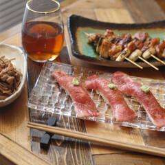 焼き鳥/和牛握り/寿司 近所の戸越銀座商店街のお肉屋さんで買って…