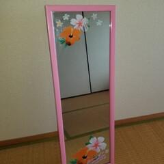 リメイク 昔買った鏡がピンクで似合わないので、余っ…