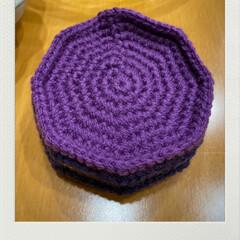 ハマって編む/楽しい/コースター/編み物/トーカイ/ダイソー/... 編み物コースター☆  コースターを編み始…