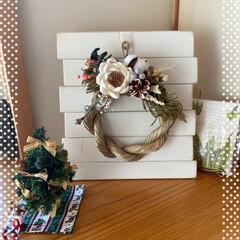楽しめる/クリスマスからお正月まで/いい感じ/大きさも丁度いい/リース/実際に飾る/... リーススタンド☆  実際にリースを飾って…