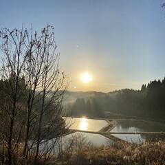 実家近く/景色/霜がおりた/今朝は寒い/朝日 朝日☆  今朝は寒く霜がおりました♪♪♪…