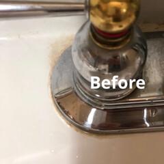 強力研磨/水回り/ダイソー/100均/住まい/掃除 100均で買ってみました。  我が家の水…(2枚目)