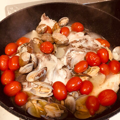 アクアパッツァ/簡単/グルメ/フード/おうちごはん 鯛のアラでアクアパッツァ♡  鯛のアラが…