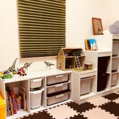 子供部屋/プレイテーブル/カラーボックス/ニトリ/IKEA/ハンドメイド/... 【わたしの手作り】 IKEAのトロファス…