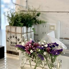 男前インテリア/お花/花のある暮らし/DIY/雑貨/インテリア/... 娘が、学校の授業で持って帰ってきた 花で…