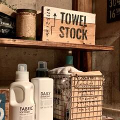 洗剤ボトル/サニタリールーム/DIY/雑貨/100均/ダイソー/... おはようございます♡ೄ̥̽︎ 右側の洗剤…