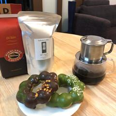 お茶/ティータイム/ポンデリング/ミスド/ベトナムコーヒー/珈琲/...  夕食後のティータイム𖠚ᐝ  ベトナムコ…