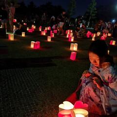 花火/浴衣/なつ/ファッション/おでかけ/水瓶 奈良の燈花会🌸  ハート型の灯籠が可愛か…