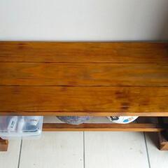 わたしのごはん/フード/スイーツ/DIY 手作りのベンチにペンキを塗りました。 塗…(6枚目)