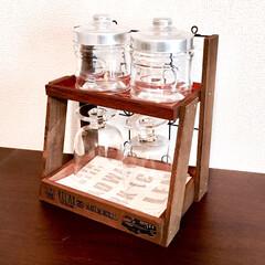 カフェ/トレイ/spr20xx/smilemind/SPR/キッチンカウンターの上に/... セリア商品の木製材料で作ったティータイム…