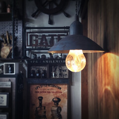 レトロ/汚し塗装/エイジング塗装/サビ加工/サビ塗装/塗装/... 【100均DIY】 エジソンランプ風ペン…