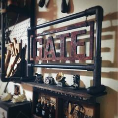 SPR/smilemind/塗装/オブジェ/木製オブジェ/男前インテリア/... 塩ビパイプで作ったスタンドに 木製オブジ…