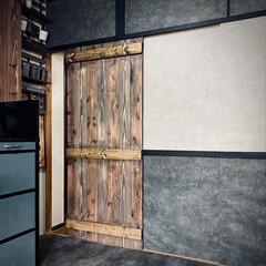 アンティークグレー/ジャコビーン/ターナー色彩/ワックス/オールドウッドワックス/扉作成/... 板材で作った引き戸を オールドウッドワッ…