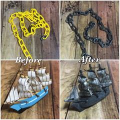 アクリル絵の具/塗装/ブラックパール号/船/鎖/ダイソー/... ダイソーのプラスチックの鎖と キャンドゥ…
