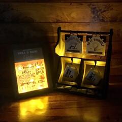 100均DIY/100均/smilemind/SPR/カフェインテリア/光るフレーム/... 100均DIY 光るシリーズ 光るカフェ…
