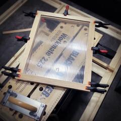 作成中/ブラックアンドデッカー/枠組み/ポリカーボネート/窓枠/DIY 引き続きパーツ作り😄 先日の45度カット…