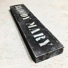 木製オブジェ/オブジェ/錆加工/錆塗装/ステンシル/spr20xx/... 角材にステンシルしました😊 次回作に使い…