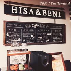 釣り看板/smilemind/SPR/spr20xx/カフェ風手ぬぐい/手ぬぐい/... セリアのカフェ風手ぬぐいを看板です。 ベ…