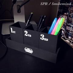 木製ボックス/トレイ/smilemind/SPR/ペン立て/男前/... ダイソーの木箱を黒に塗り替え、セリアの転…
