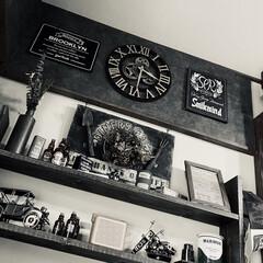 男前/飾り棚DIY/ボード/ディスプレイラックをDIY/ディスプレイラック/掛け時計/... 配置見直し