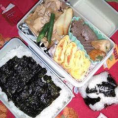 お弁当記録/夫弁当/お弁当って大変/フード おっさんず弁当。 く、黒いお弁当…。